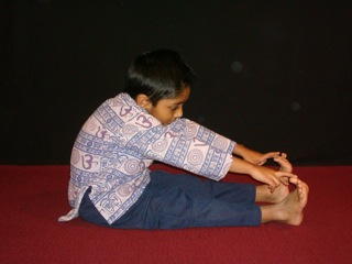 Kids Yoga Forward Bend Side View